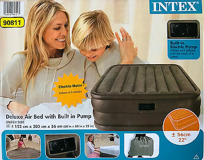 Deluxe Air Bed By Intex With Built-in Air Electric Pump Queen Size, Grey, 56cm H