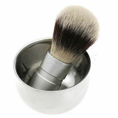 Shaving Hair Brush With Stainless Steel Bowl Cup Mug Barber Travel Accessories