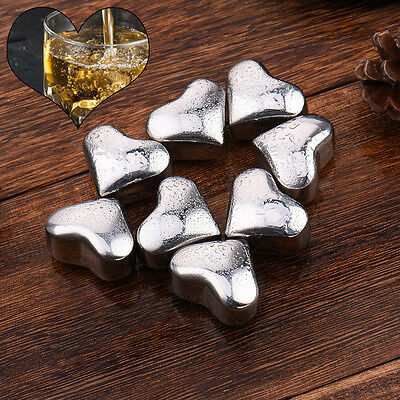 8 PCS Stainless Steel Heart-shaped Ice Cubes Quick-freeze Whiskey Stone Ice Cube