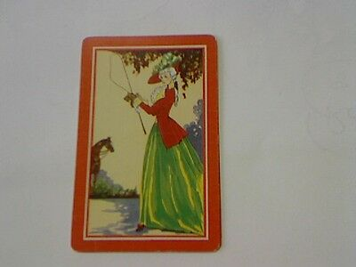 1 Single Swap/Playing Card - Old Fashioned Lady Holding Riding Whip