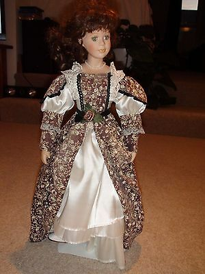 """Porcelain Doll 22"""" On Metal Stand"""