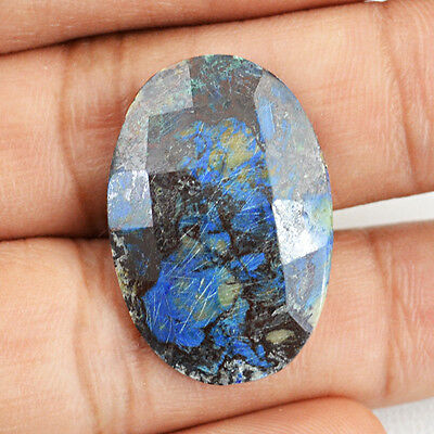 Top Class 16.85 Cts Natural Oval Shaped Checkered Cut Azurite Loose Gemstone