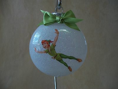 """Unique Handmade Disney Peter Pan 3"""" Round Glass Ornament~Made In The USA, NEW!"""
