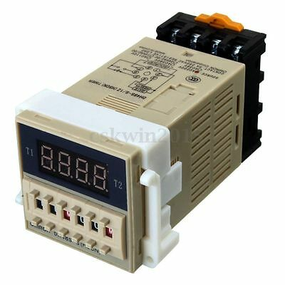 DH48S-S AC 220V 5A 24V DC Programmable Double Time Timer Delay Relay Device Tool