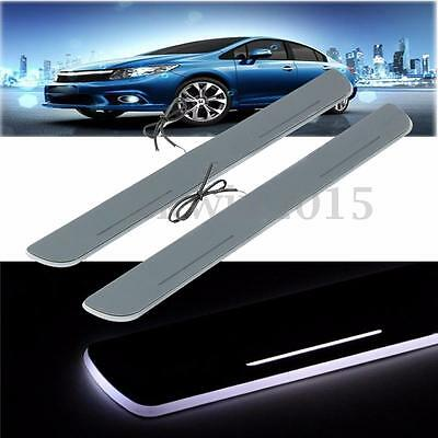 2Pcs LED Lights Car Door Sill Strip Scuff Plate Tape For Honda Civic 2012-2015