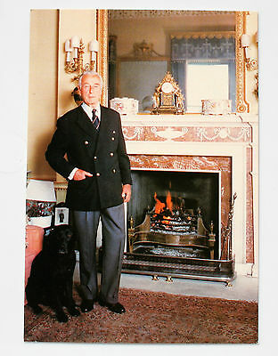 Postcard of Lord Mountbatten and his dog Kimberley