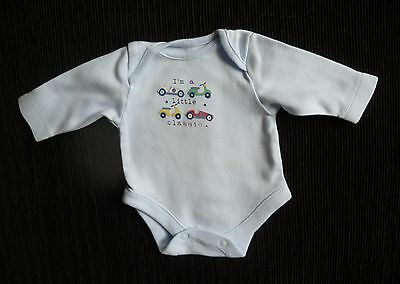 Baby clothes BOY premature/tiny<5lbs/2.3kg blue classic car long sleeve bodysuit