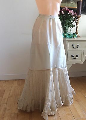 Vintage Victorian 1800s Under Skirt Champagne Silk Lace Panels Ribbons Flounced