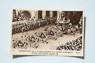 Postcard of the coronation of King George V1 and Queen Elizabeth