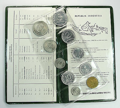 INDONESIA 10-COIN MINT SET MIXED DATES Original Green Holder