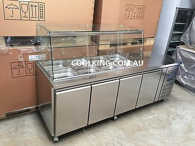 GN Stainless Steel Salad Sandwich Noodle Cold Bar with Glass Top Fridge WARRANTY