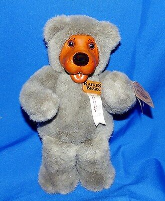 """Applause Robert Raikes 12"""" Woody Gray Bear With Ribbon & Hang Tag Excellent"""