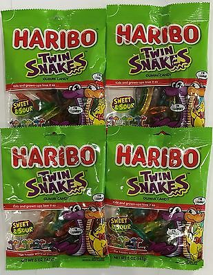 910549 4 x 142g BAGS OF HARIBO TWIN SNAKES - GUMMI CANDY - SWEET & SOUR! - USA