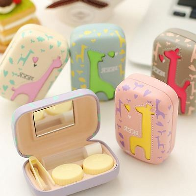 Cute Deer Contact Lens Case Holder Storage Soaking Box Travel Kit with Mirror