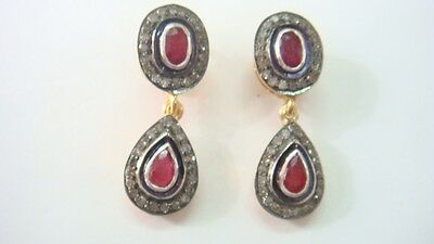 .45Cts Rosecut Diamonds & Ruby  Victorian Inspired Earring With 92.5% Silver