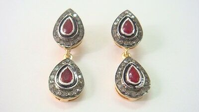 .47 Cts Rosecut Diamonds & Ruby  Victorian  Earring With 92.5% Silver