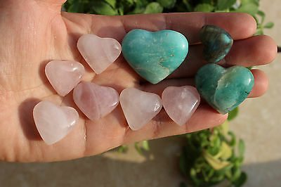 9 Natural Amazonite&BABY ROSE&labradorite Crystal polished Heart