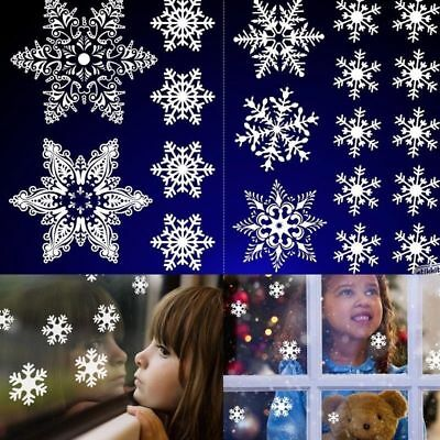 38 White SNOWFLAKES WINDOW STICKERS SELF CLINGS  Reusable Christmas Decorations
