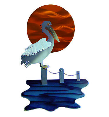 "Relaxing Pelican Sunset 18"" Steel Wall Art * Metal Sculpture Coastal Birds Sea"
