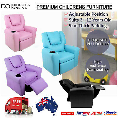 Kids PU Leather Recliner Lounge Arm Chair Cup Drink Holder Childrens Furniture