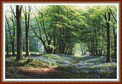 """'BLUEBELL WOODS' Cross Stitch Chart/Pattern (19""""x12½"""") Flowers/Detailed NEW!"""
