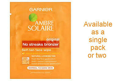 Garnier Ambre Solaire No Streaks Bronzer Self Tan Face Wipes - PRICE DOWN BY 15%