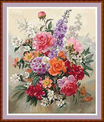 """'COLOURFUL BOUQUET' Cross Stitch Chart/Pattern (16""""x19"""") Flowers/Detailed"""