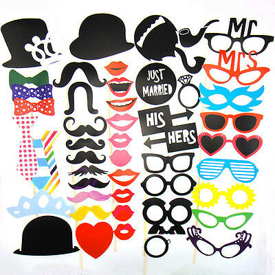 Photo Booth Props Moustache on A Stick Wedding Xmas Birthday Party DIY Tools