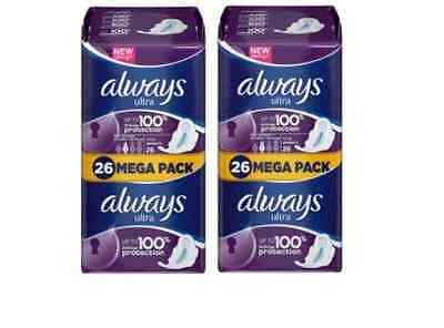 Always Ultra Long Plus Sanitary Towels With Wings Giga Pack 26X2