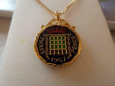 VINTAGE ENAMELLED THREEPENCE COIN PENDANT & NECKLACE 1967. 50th BIRTHDAY PRESENT