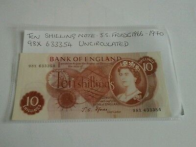 Old Ten Shillings Note UNCIRCULATED   J.S. Fforde Bank Of England. 97X 633354