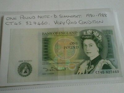 english one pound note, D Somerset 1980-1988 good condition CT45 827460