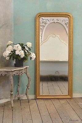 Louis Philippe Etched Gold Gilt Leaf Bevelled Mirror