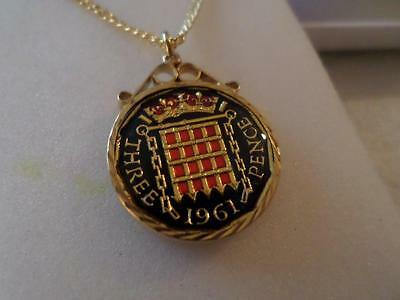 Vintage Enamelled Threepence Coin Pendant & Necklace. Birthday Christmas Present