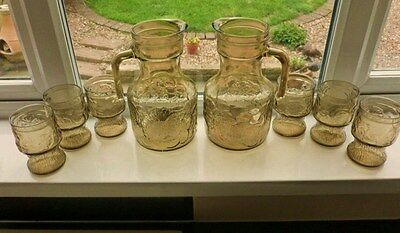 Rare Vintage Italian Glass Lemonade/Pimms Set with TWO Pitchers & Six Tumblers