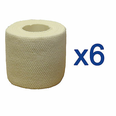 6 Rolls Premium 5cm Professional Sports Strapping Tape Elastic Adhesive Bandage