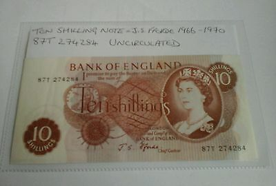 Old Ten Shillings Note UNCIRCULATED   J.S. Fforde Bank Of England. 87T 274284
