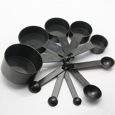 10Pcs Kitchen Measuring Spoons Cup Set Baking Cooking Coffee Spoon Black