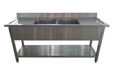 1.8M Commercial Stainless Steel Double Bowl Double Drainer Sink (600Mm Deep)