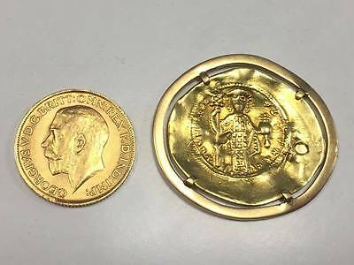 Contantine Byzantine rare gold coin and Georgivs FULL sovereign gold pound 1911