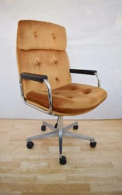 Mid Century Retro Danish Metal Swivel Office Desk Chair 1960s 70s