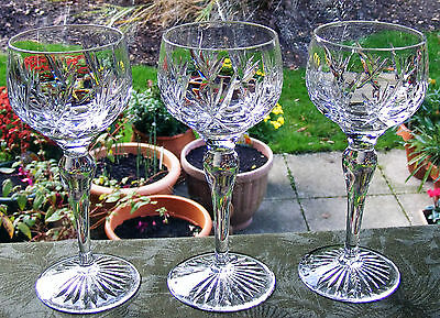 "Set Of 3 Stuart Crystal ""ivanhoe"" 7"" Hock Wine Glasses"