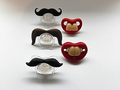 Funny Moustache Lips Teeth Baby Infant Dummy Pacifier Non Toxic Soother toddler