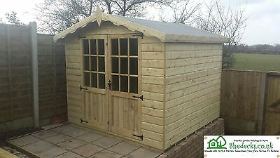 8x6 APEX SUMMERHOUSE WOODEN SHED HEAVY DUTY TIMBER TANALISED T&G SHEDS