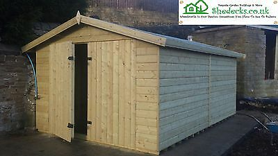 8x8 WORKSHOP 16mm HEAVY DUTY APEX GARDEN SHED TANALISED