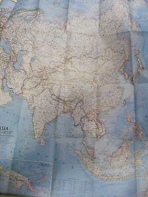 """Vintage 1971 National Geographic Map of Southeast Asia 32"""" x 37"""""""
