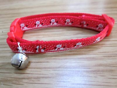 Cat collar Kitten Christmas Snowman bell safety buckle webbing ribbon Red