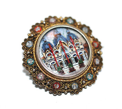 Antique Dimensional Micromosaic Under Glass Brooch Pin Victorian Silver Italy