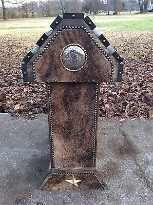 Saddle Stand / Rope Border Concho / Cowhide / Western Decor / Made In The Usa