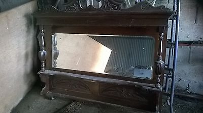 Antique Victorian carved sideboard top with mirror
